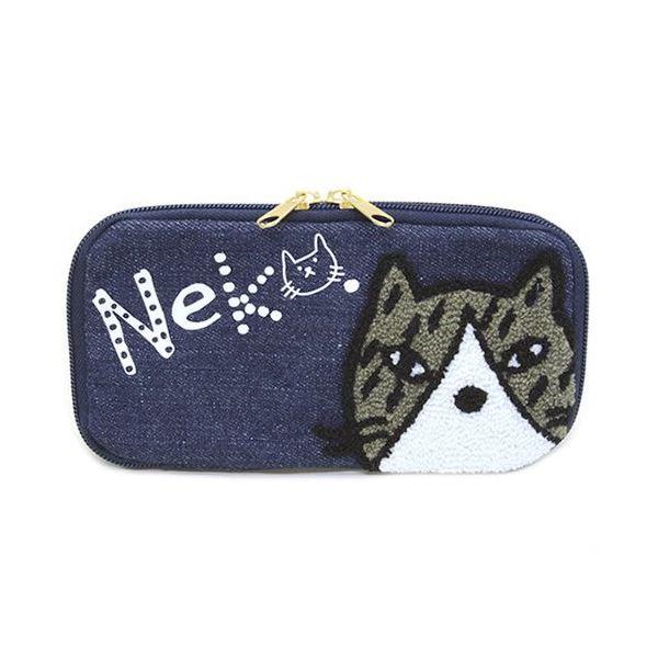 anello(アネロ) CAT・DOT ねこどっとシリーズ  ZP-D0432-NV 魚の骨チャーム付♪もこもこサガラ刺繍&ロゴプリント ペンケース マルチポーチf00