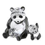 SWAROVSKI(スワロフスキー) Panda Mother With Baby 親子パンダ ハートフル クリスタルフィギュア クリア/ブラック 5063690