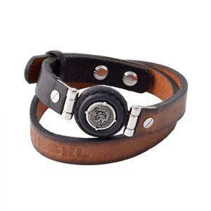 DIESEL(ディーゼル) DX1021040 ブレイブマン レザー ラップ 2連 メンズ ブレスレット h01