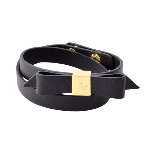 Kate Spade(ケイトスペード) WBRUD210-001 Black WRAP THINGS UP leather bow wrap bracelet リボンモチーフ ダブルラップ 2連 ブレスレットf00
