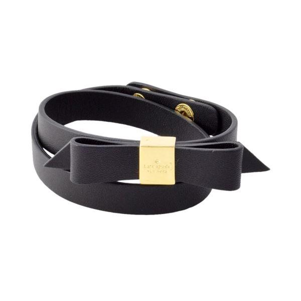 Kate Spade(ケイトスペード) WBRUD210-001 Black WRAP THINGS UP leather bow wrap bracelet リボンモチーフ ダブルラップ 2連 ブレスレットf00
