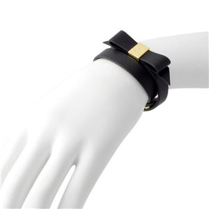 Kate Spade(ケイトスペード) WBRUD210-001 Black WRAP THINGS UP leather bow wrap bracelet リボンモチーフ ダブルラップ 2連 ブレスレット h03