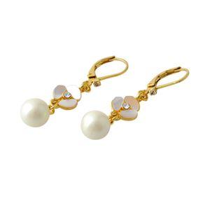 Kate Spade(ケイトスペード) WBRUC972-143 Cream Multi DISCO PANSY drop leverback earrings パンジーモチーフ&パール ドロップ ピアス h01