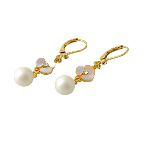 Kate Spade(ケイトスペード) WBRUC972-143 Cream Multi DISCO PANSY drop leverback earrings パンジーモチーフ&パール ドロップ ピアスf00