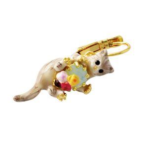 Les Nereides(レネレイド) AELA101D/1 ネコモチーフ 猫 キャット フック ピアス LOVES ANIMALS