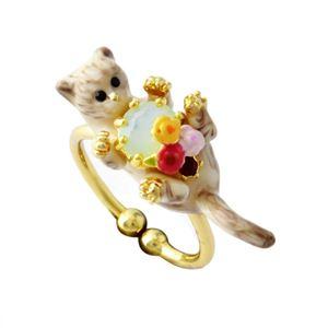 Les Nereides(レネレイド) AELA601/1 ネコモチーフ 猫 キャット リング 指輪 アジャスタブル LOVES ANIMALS
