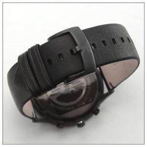 EMPORIO ARMANI(エンポリオ・アルマーニ) オールブラックカラーのレザーストラップ・クロノグラフウオッチ AR2461 h03