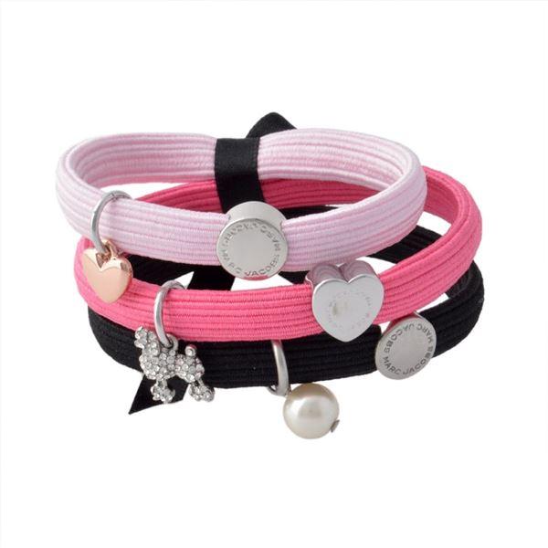 MARC JACOBS (マークジェイコブス) M0010698-651 Pink Multi クラスターポニー プードル&パールチャーム ヘアゴム3本セット ブレスレットにも♪ Poodle Pearl Cluster Ponysf00