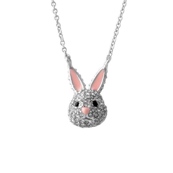 Kate Spade (ケイトスペード) WBRUD585-911 clear/silver MAKE MAGIC rabbit mini pendant ウサギモチーフ クリスタルパヴェ ペンダント ネックレスf00
