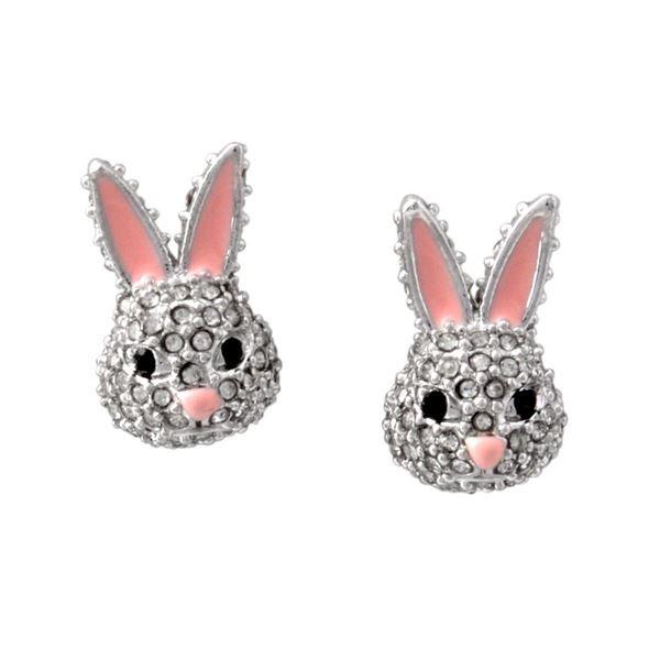 Kate Spade (ケイトスペード) WBRUD589-922 clear/silver MAKE MAGIC rabbit studs ウサギモチーフ クリスタルパヴェ スタッド ピアスf00