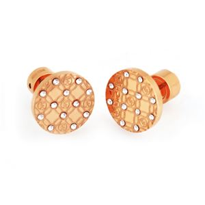 MICHAEL KORS (マイケルコース) MKJ4277791 Pave Rose Gold-Tone Heritage Etched Monogram Stud Earrings パヴェ モノグラム スタッド ピアス h01