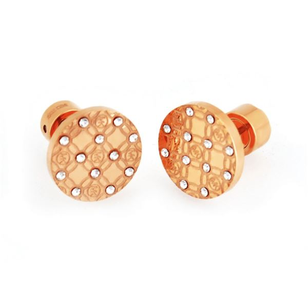 MICHAEL KORS (マイケルコース) MKJ4277791 Pave Rose Gold-Tone Heritage Etched Monogram Stud Earrings パヴェ モノグラム スタッド ピアスf00