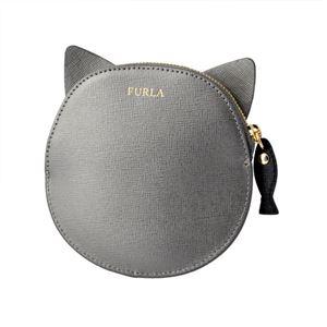FURLA (フルラ) 856554 PO52 SFM COLOR ACCIAIO 魚チャーム付 猫モチーフ コインケース 小銭入れ ALLEGRA COIN CASE CAT h02