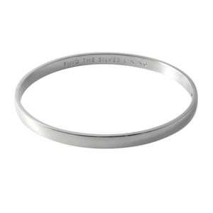 kate Spade (ケイトスペード) WBRU9167-040 Silver ヒンジ バングル ブレスレット Idiom Bangles 「FIND THE SILVER LINING」