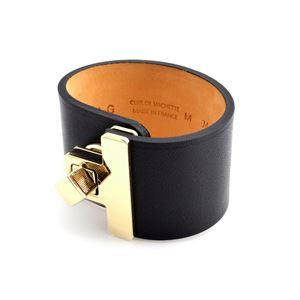 Maison Boinet (メゾンボワネ) 95027G 79 4 Black M ヒネリ金具 レザー ブレスレット バングル 40mm