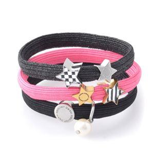 MARC JACOBS (マークジェイコブス) M0010703-651 Pink Multi Stripe & Checkerboard Cluster Ponys クラスターポニー ストライプ&チェックスターチャーム ヘアゴム3本セット ブレスレットにも