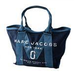 MARC JACOBS (マークジェイコブス) M0011124-423 Denim ミリタリーロゴプリント トートバッグ スモール A4サイズ対応 New Logo Tote Small