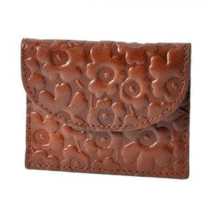 marimekko (マリメッコ) 45423 800 エンボス ウニッコ型押しレザー カードケース 小銭&カード入れ EMBOSSED-UNIKKO KARRI