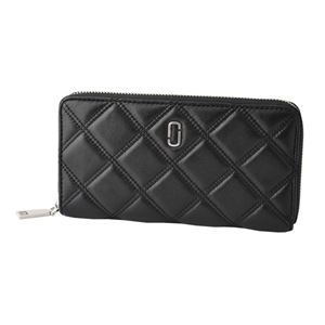 MARC JACOBS (マークジェイコブス) M0012085-001 Black ダブルJロゴ キルティングステッチ ラウンドファスナー長財布 Double J Standard Continental Wallet