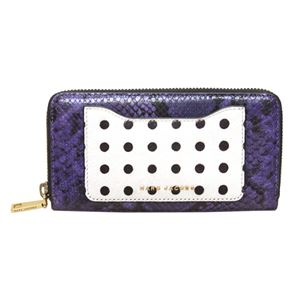 MARC JACOBS (マークジェイコブス) M0012092-578 Violet Multi 異素材ミックス(ドット柄ハラコ×スネーク柄×クロコ型押し) ラウンドファスナー長財布 Mix And Match Snake Standard Continental Wallet
