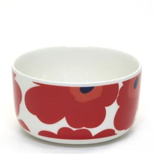 marimekko (マリメッコ) UNIKKO BOWL ウニッコ柄 ボウル 500ml スープやサラダなどを入れるのに便利  ホワイト×レッド 63433-001 White/Red