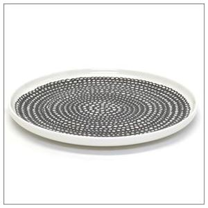 marimekko (マリメッコ) SIIRTOLAPUUTARHA PLATE 20cm 63303 199 white/black/black 手描き風デザイン プレート 丸皿
