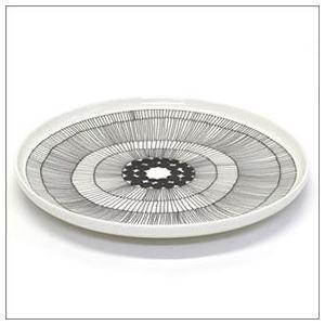 marimekko (マリメッコ) SIIRTOLAPUUTARHA PLATE 25cm 63304 191 white/black 手描き風デザイン プレート 丸皿