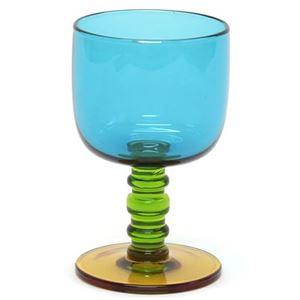 marimekko (マリメッコ) SUKAT MAKKARALLA STEMWARE 300ml 63943 760 turquoise/green/yellow カラー ワイングラス 脚付グラス