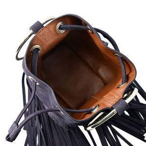 Maison Boinet(メゾンボワネ) 97079G-174-147 Blackcurrant リングハンドル フリンジ 巾着型 2WAY ミニバッグ ショルダーバッグ S