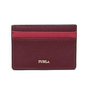 FURLA(フルラ) 924414 CILIEGIA+RUBY PU01 OAS バビロン カラーブロック 名刺入れ カードケース BABYLON S CREDIT CARD CASE