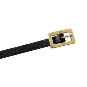 Maison Boinet(メゾンボワネ) 90132-79-04-80 Black プレート金具/バックル 2WAY レザー ベルト 7mm 牛革 細ベルト