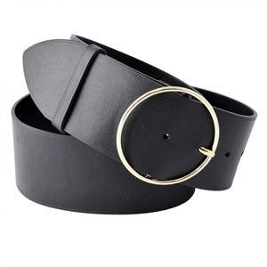 Maison Boinet(メゾンボワネ) 91687G-79-04-80 Black リングバックル ラウンドバックル レザー ベルト 55mm 牛革 太ベルト