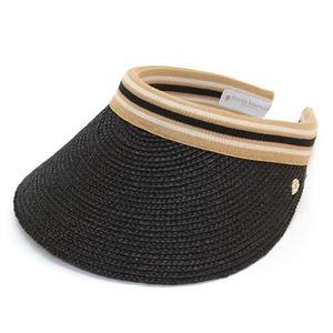 HELEN KAMINSKI(ヘレンカミンスキー) Bianca/Charcoal/Black Stripe ≪2015SS≫ビアンカ UPF50+ クリップ サンバイザー ラフィア製ハット レディス帽子