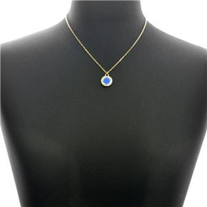 MARC JACOBS (マークジェイコブス) M0008546-406 Sapphire ロゴ ディスク エナメル ペンダント ネックレス Logo Disc Enamel Pendant