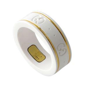 GUCCI (グッチ) 325964-J85V5-8062 10号 GGパターン エングレービング ホワイトジルコニア/18KYG リング 指輪