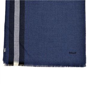 BALLY (バリー) M7D028F-8S040 978 6203355 バリーストライプ ウール スカーフ ストール MULTI DARKNAVY(ブルー、ネイビー、ベージュ)