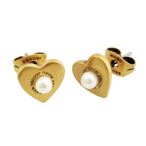 MARC JACOBS (マークジェイコブス) M0008660-795 Antique Gold Hearts Studs ロゴ パール ハート スタッド ピアス