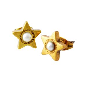 MARC JACOBS (マークジェイコブス) M0009237-117 Cream/Antique Gold ロゴ パール スター 星モチーフ スタッド ピアス Charms Flat Pearl Star Studs