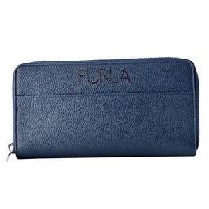 FURLA (フルラ) 938275 BLU メンズ ラウンドファスナー長財布 パンチング加工ロゴ ULISSE