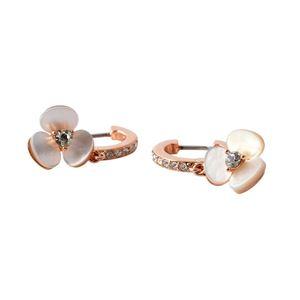 Kate Spade(ケイトスペード)WBRUE997-143 Cream Multi パンジーモチーフ パール クリスタル フープ ピアス DISCO PANSY pearl drop Earrings