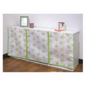 カラーボックスカーテン(ヨコ置きタイプ3枚組)/グリーン P-CBCY-GR-3P - 拡大画像