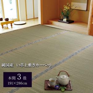 純国産/日本製 糸引織 い草上敷 『湯沢』 本間3畳(約191×286cm)の詳細を見る