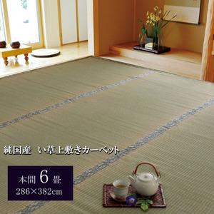 純国産/日本製 糸引織 い草上敷 『湯沢』 本間6畳(約286×382cm) - 拡大画像