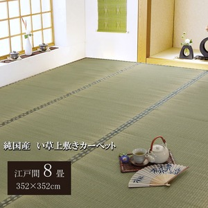 純国産/日本製 双目織 い草上敷 『松』 江戸間8畳(約352×352cm)の詳細を見る