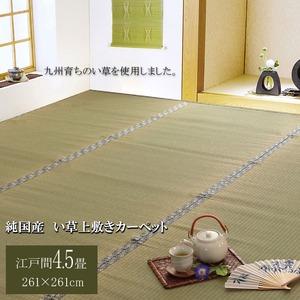 純国産/日本製 糸引織 い草上敷 『柿田川』 江戸間4.5畳(約261×261cm)の詳細を見る