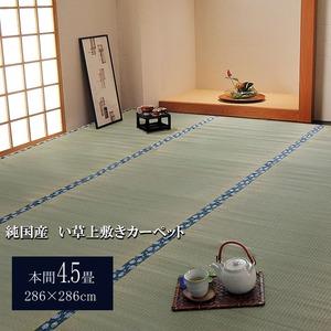 純国産/日本製 双目織 い草上敷 『ほほえみ』 本間4.5畳(約286×286cm)の詳細を見る