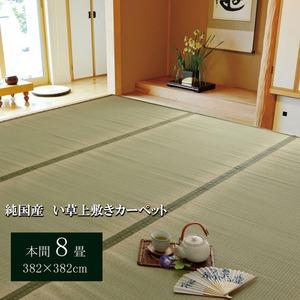 純国産/日本製 双目織 い草上敷 『草津』 本間8畳(約382×382cm) - 拡大画像