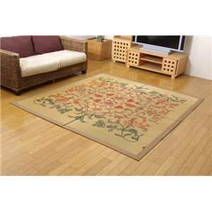 純国産/日本製 袋四重織い草カーペット 『雲龍』 ベージュ 約191×191cmの詳細を見る