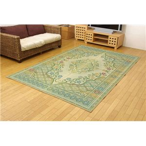 純国産/日本製 い草花ござカーペット 『アシック』 グリーン 江戸間8畳(約348×352cm)の詳細を見る