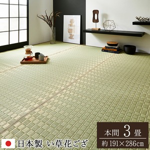 純国産/日本製 掛川織 い草カーペット 『松川』 ベージュ 本間3畳(約191×286cm)の詳細を見る